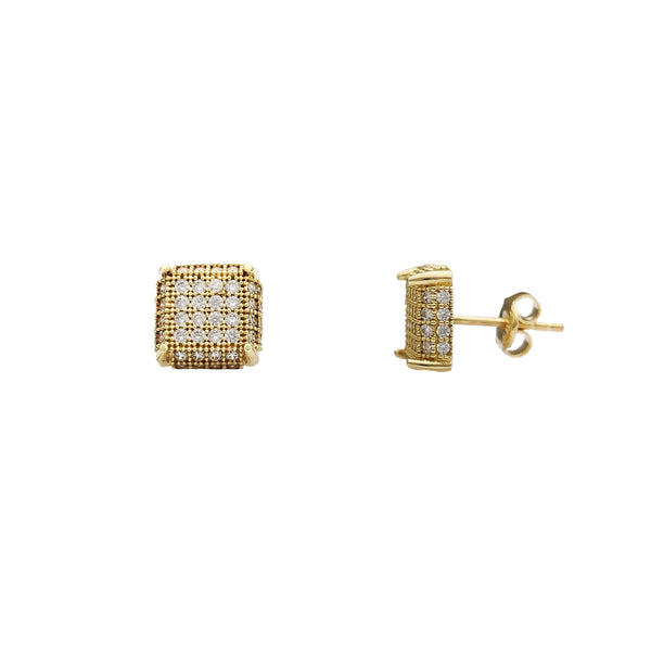 Yellow Gold Milgrained Iced-Out Square Stud Earrings (14K) Popular Jewelry New York