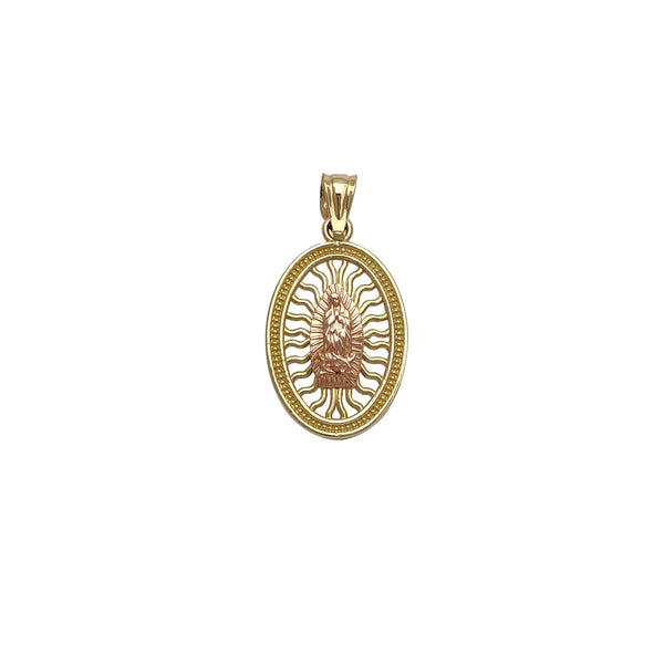 Milgrained Oval Frame Virgin Mary Pendant (14K) Popular Jewelry New York