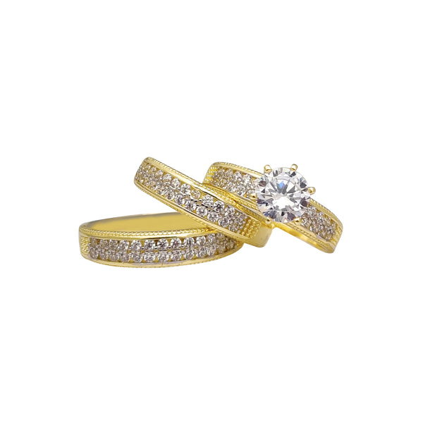 Milgrained Two-Row Pave Three-Piece-Set Rings (14K) Popular Jewelry New York