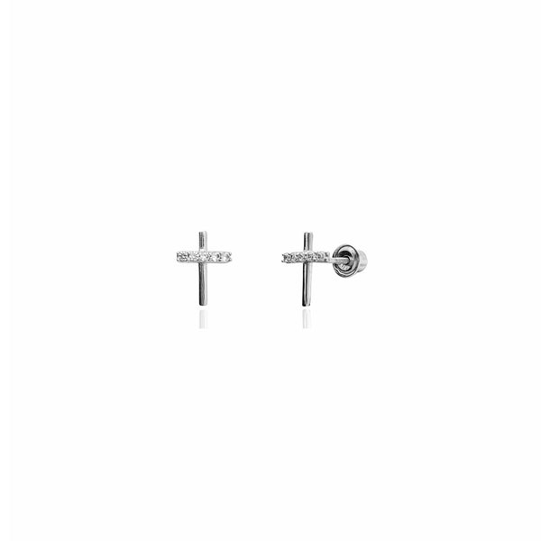 Mini Cross CZ Stud Earrings (14K) 14 Karat White Gold, Popular Jewelry New York