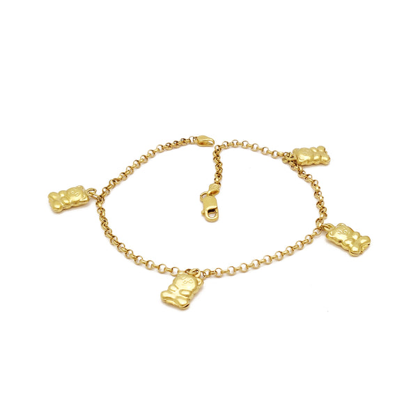 Mini Teddy Bear Anklet (14K) 14 Karat Yellow Gold, Popular Jewelry New York