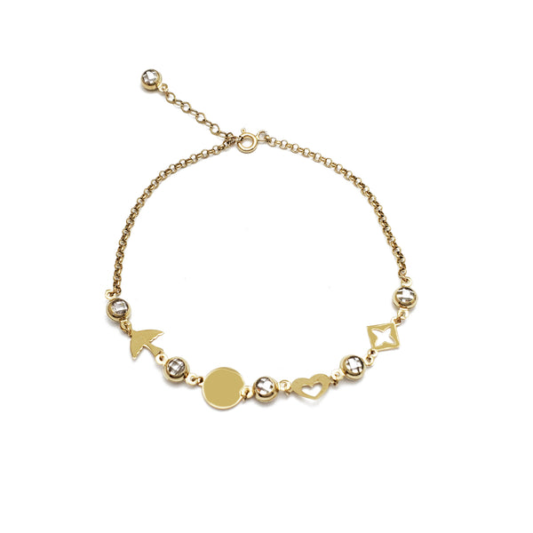 Mix Charms CZ Anklet 2 (14K)