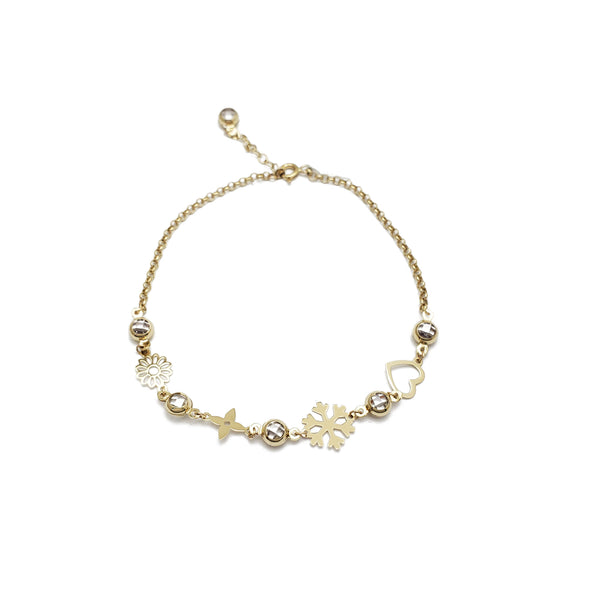 Mix Objects CZ Anklet 3 (14K)