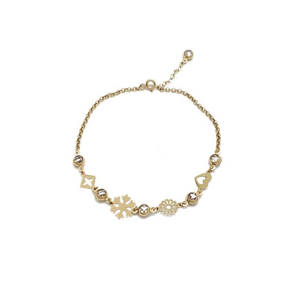Mix Charms CZ Anklet (14K)