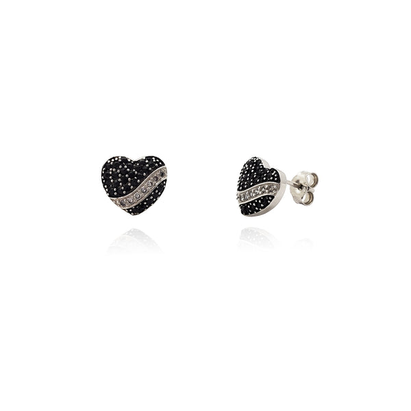 Monochrome Ice Heart Stud Earrings (Silver) Popular Jewelry New York