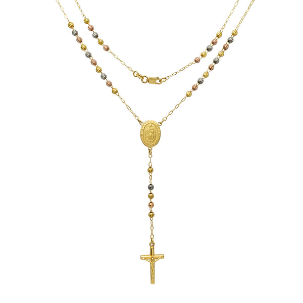 [Moon-Cuts Beads] Tricolor Nuestra Señora Guadalupe Rosary Necklace (14K) Popular Jewlery New York