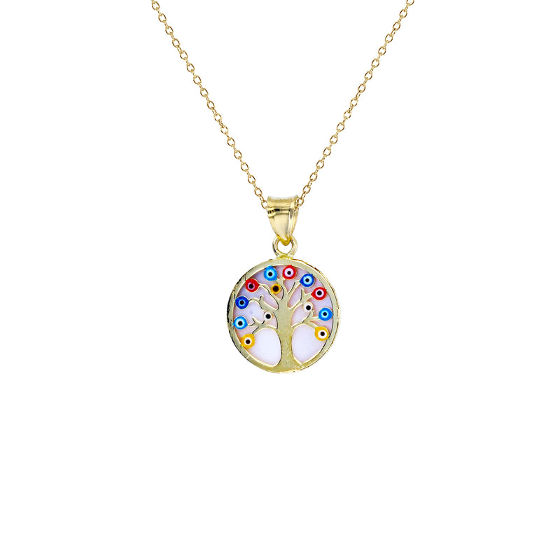 Mother of Pearl Evil Eyes Tree of Life Fancy Necklace (14K) Popular Jewelry New York