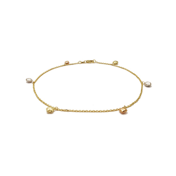 Multi-Figures Anklet (14K) 14 Karat Tri Tone, Yellow Gold, White gold, Rose Gold, Popular Jewelry New York