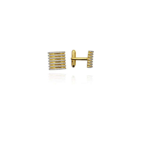 Multi-Golden Stripe CZ Cuff Link (Silver) New York Popular Jewelry