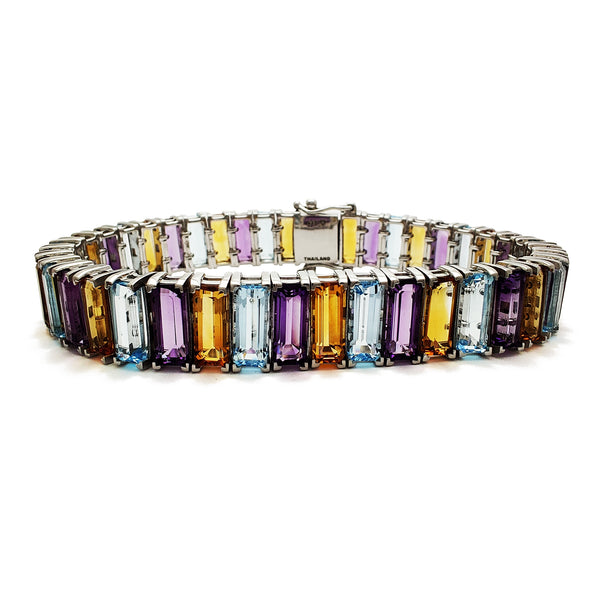 Multicolor Baguettes Zirconia Tennis Bracelet (Silver) Popular Jewelry New York