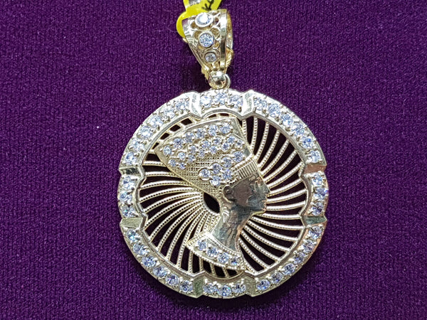 Icy Nefertiti Medallion Pendant 10K - Popular Jewelry