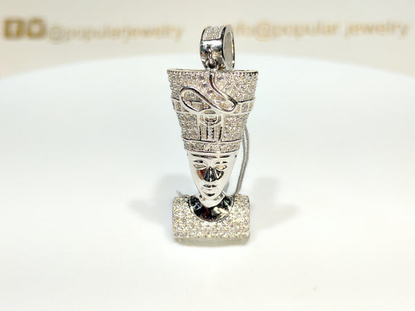 Iced-Out Nefertiti anheng sølv - Popular Jewelry