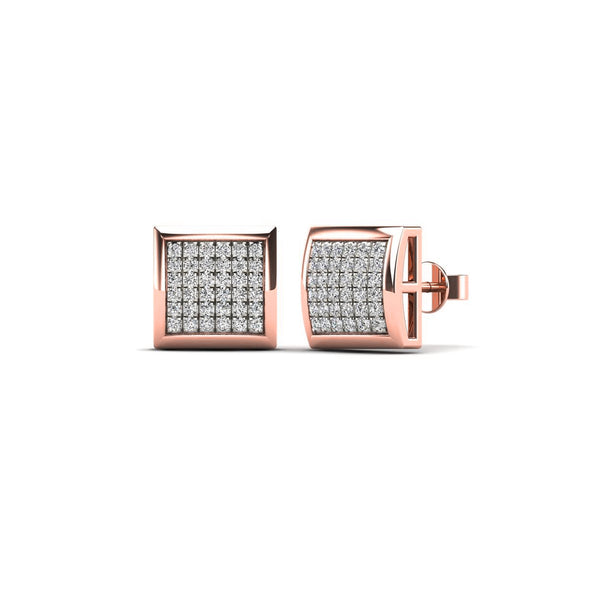 Rose Gold Diamond Square Dome Stud Earrings (14K)