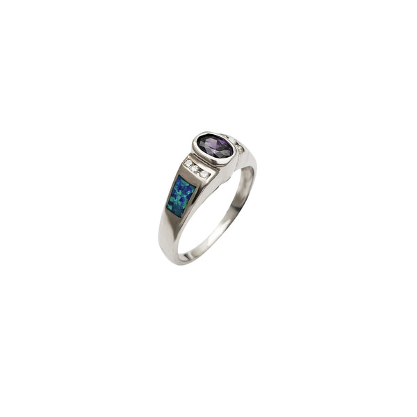 Opal CZ Wedding Ring (Silver)