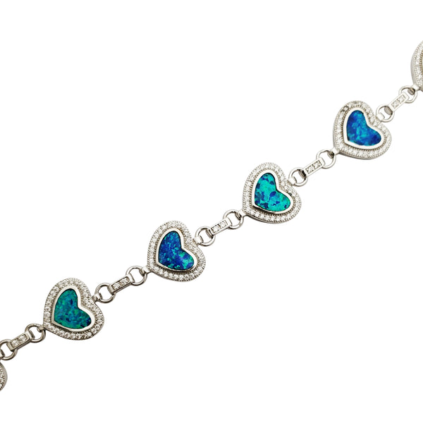 Opal Linked Hearts Bracelet (Silver)