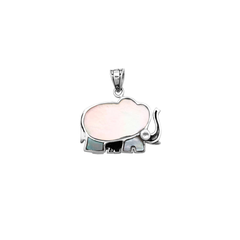 Mother-of-Pearl Celtic Elephant Pendant (Silver)