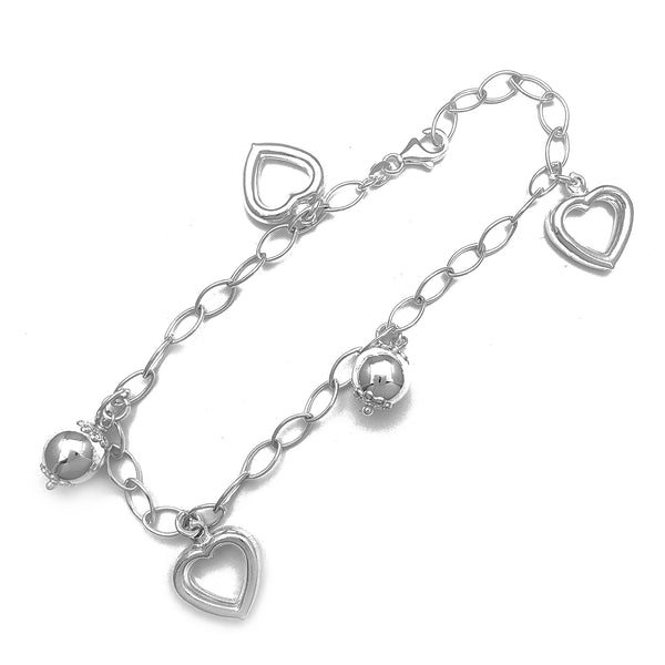 Open Puffy Heart Charms Anklet (Silver)