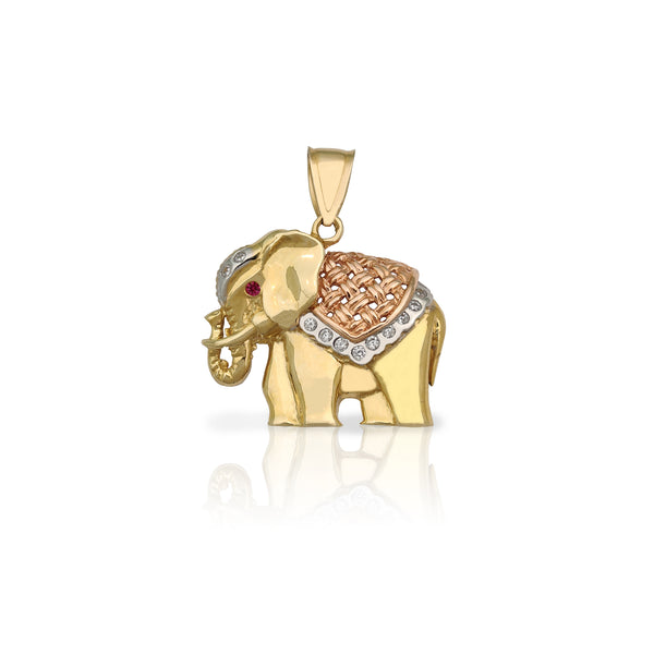 Pingente de elefante de ornamento (14K) Popular Jewelry New York