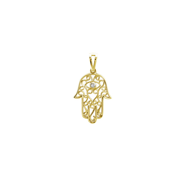 Outline Pendente a mano di Hamsa (14K) Popular Jewelry New York