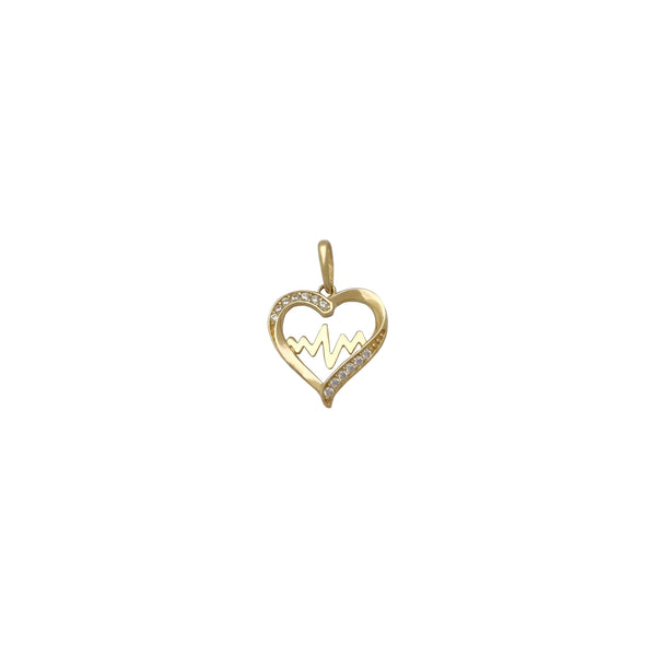 Outline Heart Beat Pendant (14K) Popular Jewelry New York