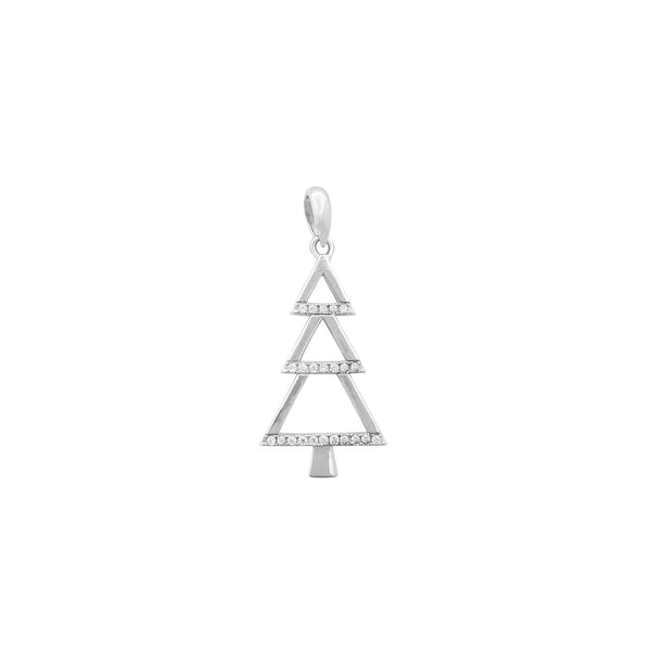 Outline Pave Christmas Tree Pendant (Silver) Popular Jewelry New York