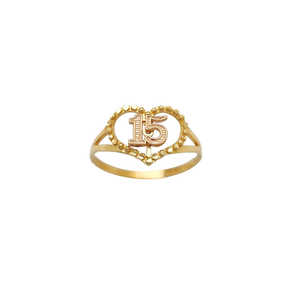 Outlined Heart 15 [Quinceañera] Ring (14K) Popular Jewelry New York