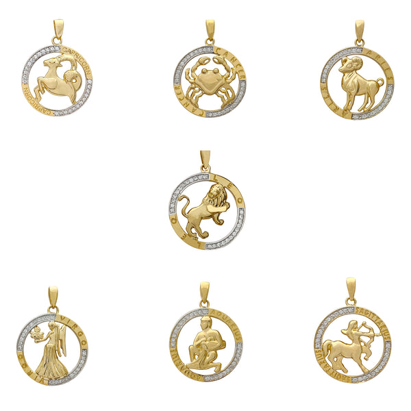 Outlined Zodiac Sign Medallion Pendant (14K) Popular Jewelry New York