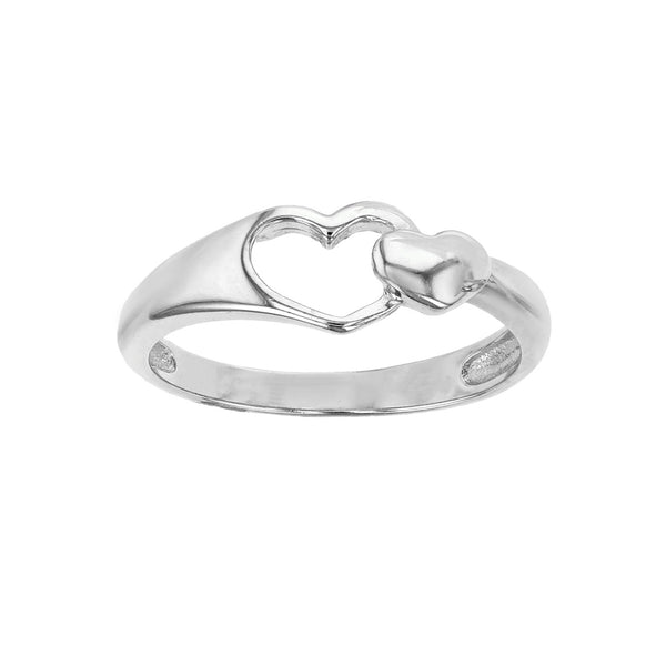 Outlined & Puffy Hearts Ring (Silver) Popular Jewelry New York