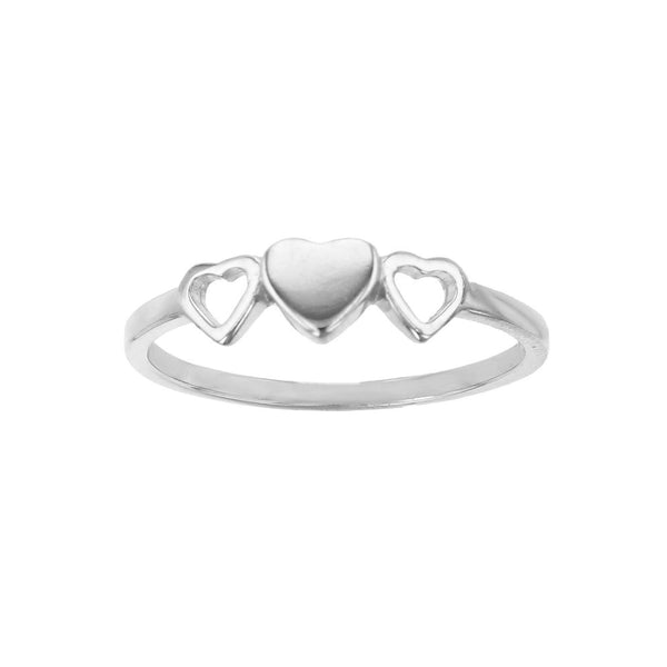 Outlined & Puffy Three-Hearts Ring (Silver) Popular Jewelry New York