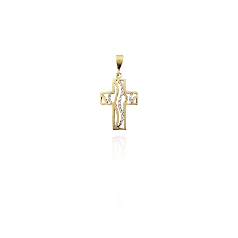 14k Yellow Gold Textured Sparkle-Cut Two Tone Patonce Cross Pendant