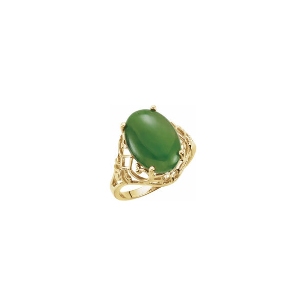 Oval Nephrite Jade Openwork Ring (14K) main - Popular Jewelry - New York