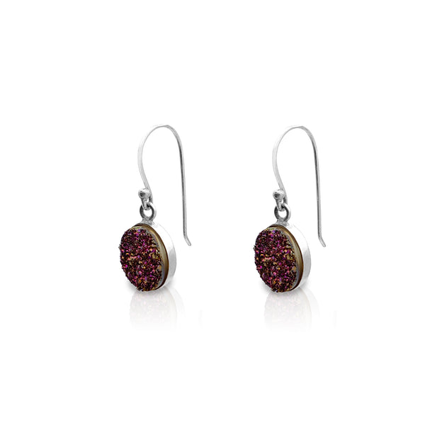 Guharên Oval Purple Glitter Drop (zîv) Popular Jewelry Nûyork