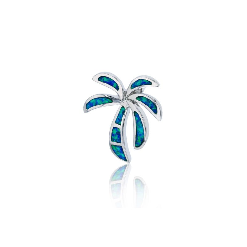 Blue Opal Palm Tree Pendant (Silver)