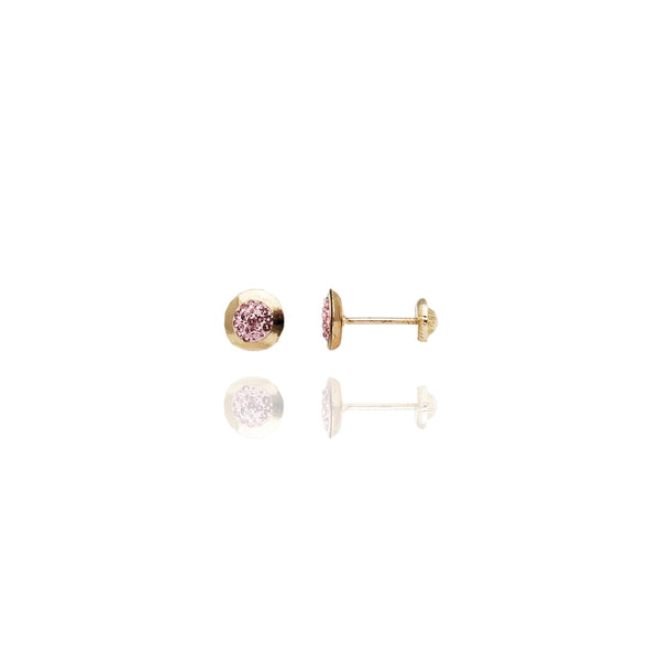 Yellow Gold Round Shaped Pink Stone Stud Earrings (14K)