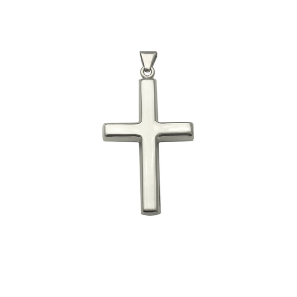 Plain Puffy Cross Pendant (Silver)