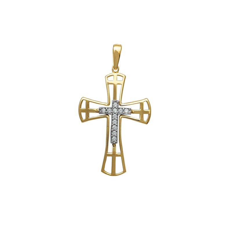 Outlined Two-Tone Cross Pendant (14K) Popular Jewelry New York