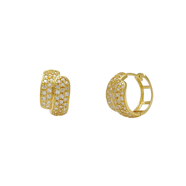 Pave Bypass Huggie Earrings (14K) Popular Jewelry New York