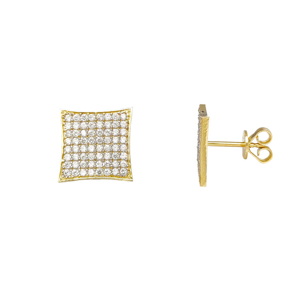 Pave Concave Thin Borders Square Stud Earrings (14K) Popular Jewelry New York