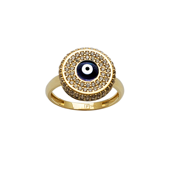 Pave Evil Eye Round Cocktail Ring (14K)  Popular Jewelry New York