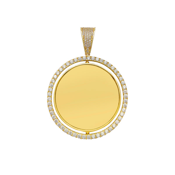 Pave Halo Memorial Picture Round Medallion Pendant (14K) Popular Jewelry New York