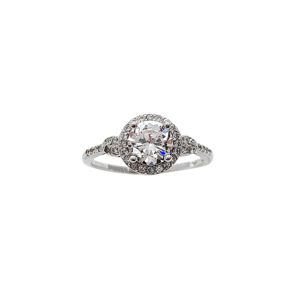 Pave Halo Round Zirconia Engagement Ring (Silver) Popular Jewelry New York