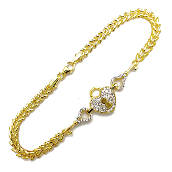 Pave Heart Lock & Key Fancy Bracelet (14K) Popular Jewelry New York