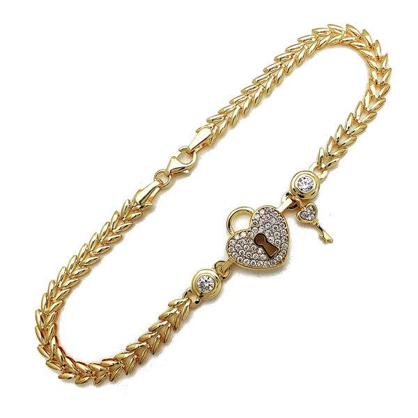 Pave Heart Lock & Little Key Fancy Bracelet (14K) Popular Jewelry New York