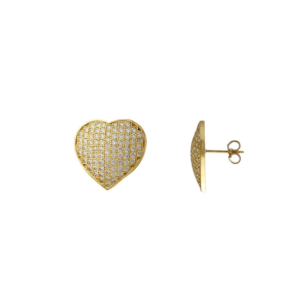 Pave Heart Stud Earrings (14K) Popular Jewelry New York