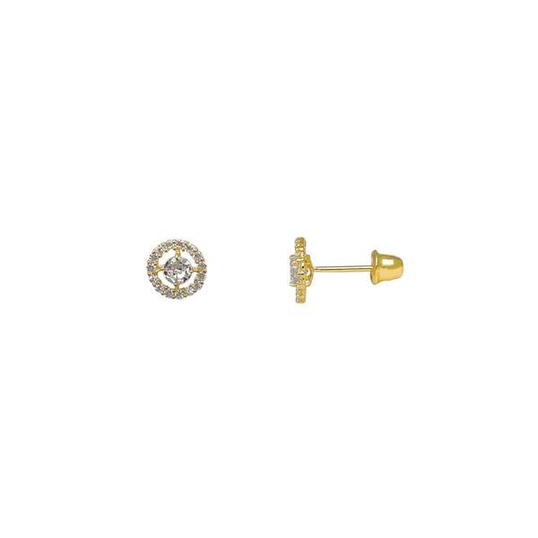 Pave Setting Halo Round Stud Earrings (14K) Popular Jewelry New York