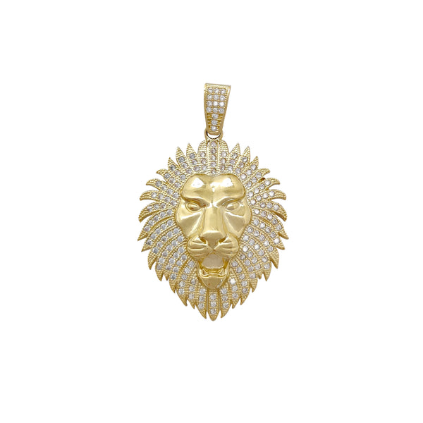 Medium Pave Setting Lion Head Pendant (10K) Popular Jewelry New York