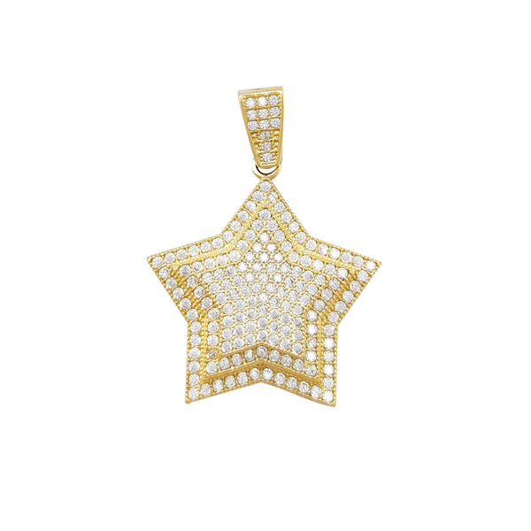 Pave Setting Triple Star Pendant (10K) Popular Jewelry New York