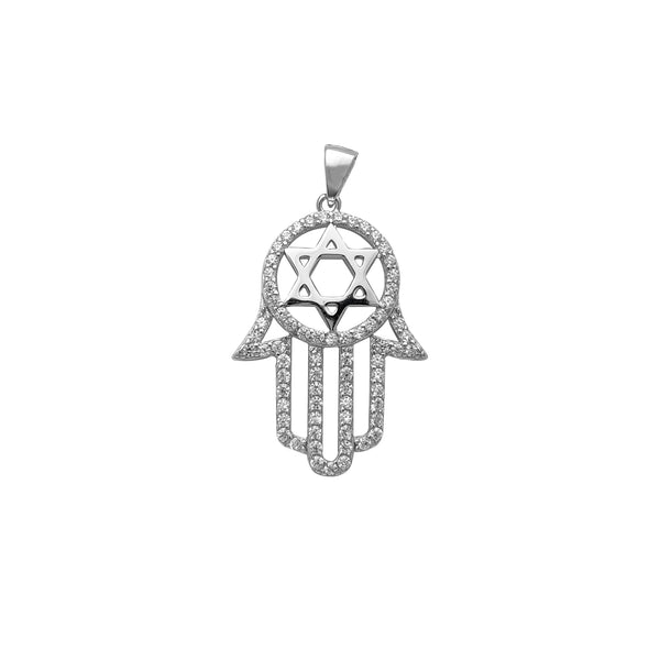 Pave Star of David Hamsa Hand Pendant (Silver) Popular Jewelry New York