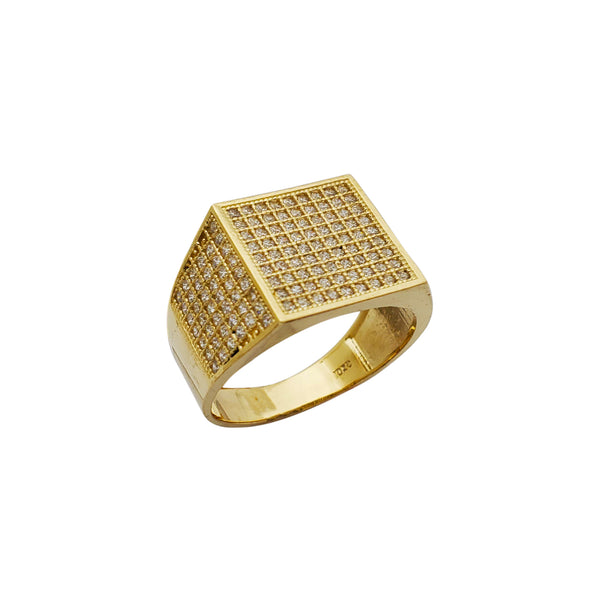 Pave Stone-Set Square Ring (10K) Popular Jewelry New York