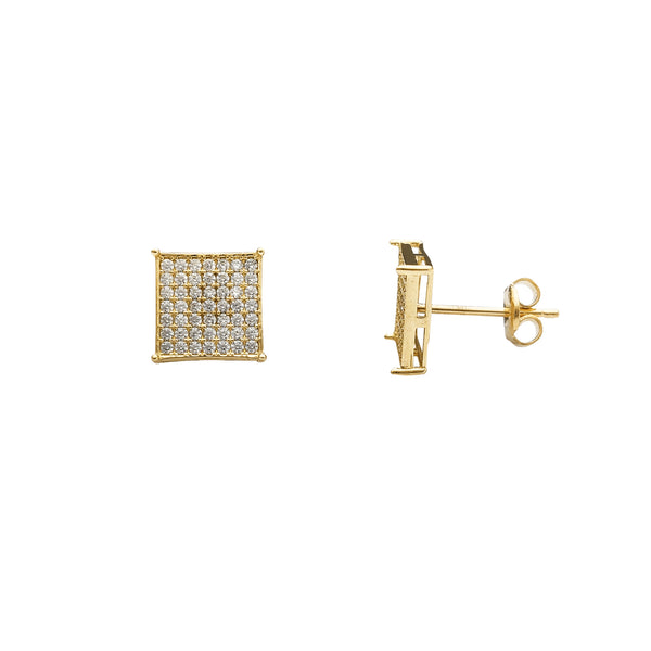 Yellow Gold Pave Stone-Setting Square Stud Earrings (14K) Popular Jewelry New York